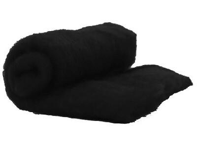 Merino Wool  -- Carded Batt --  Black