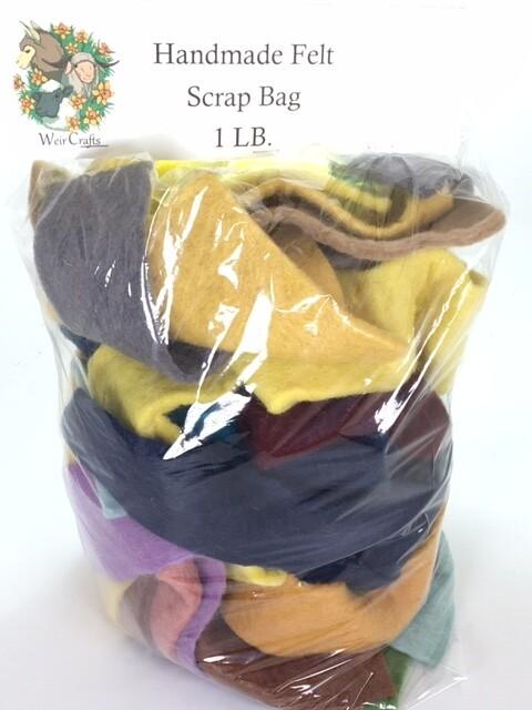 Thick Handmade 100% Wool Felt Scrap Bag--1 pound