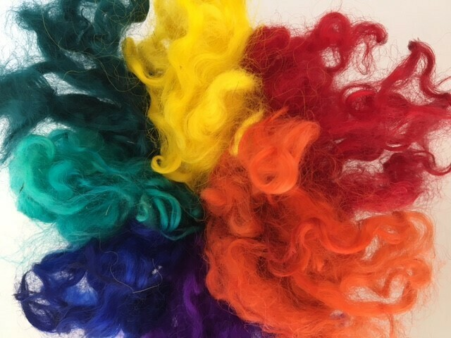 Rainbow Dyed Gotland Wool Locks -- 2 ounces