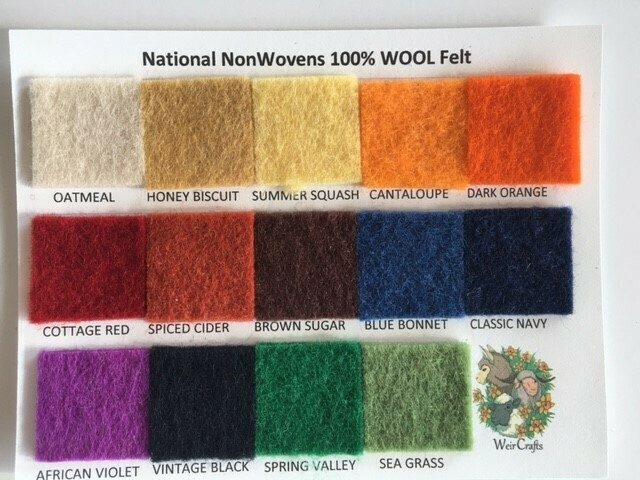 National Nonwovens 100% Wool Felt Color Swatch Card