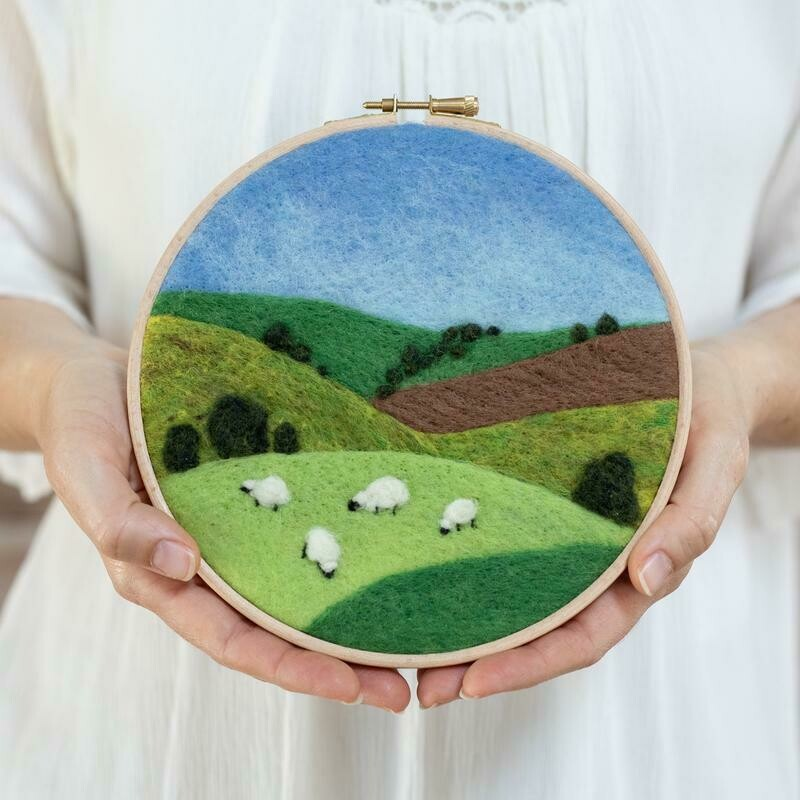 Grazing Sheep Hoop Needle Felting Kit