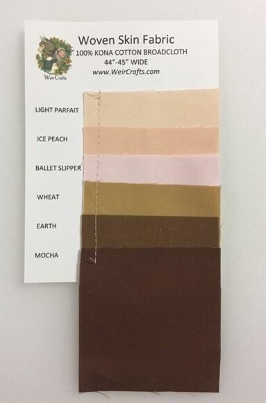 Woven Kona Cotton Doll Skin Fabric Swatch Card