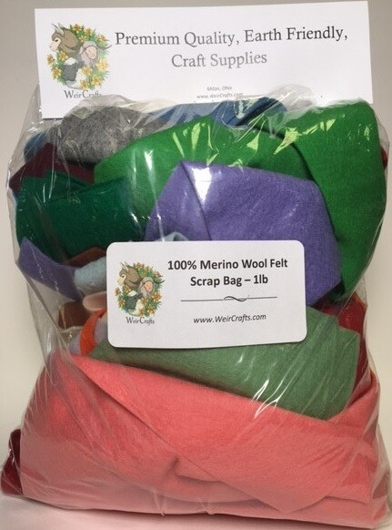 100% Merino Wool Felt Scrap Bag - 1 Pound