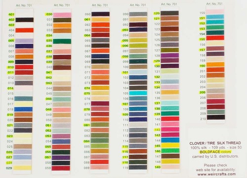 Clover & Tire Silk Thread Color Sheet