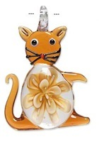 SALE! Blown Glass Pendant - Cat (56mm)
