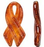 SALE! Blown Glass  Pendant -- Orange Awareness Ribbon (58mm)