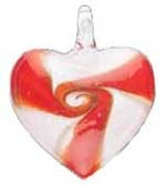 SALE! Blown Glass  Pendant- Red Heart (42mm) - $2.29