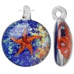 SALE! Blown Glass  Pendant- Round Starfish (28mm) -- $2.75