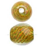 SALE! Glass Focal Bead - Yellow/Green Swirl (21mm)