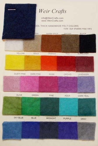 Handmade 100% Wool Felt - Swatch Card