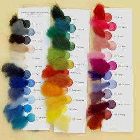 NZ Corriedale Wool Roving Swatch Cards