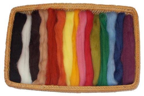 NZ Corriedale Wool Roving -- 15 Nature Colors