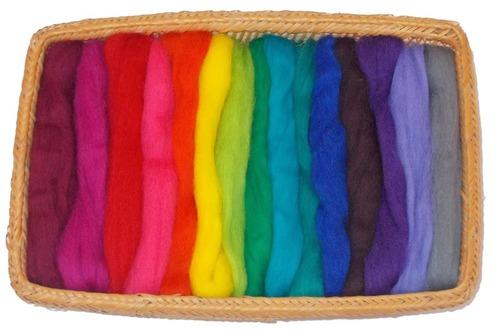 NZ Corriedale Wool Roving -- 15 Vivid Colors