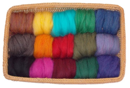 EcoSoft Wool Roving -- 15 Vibrant Colors