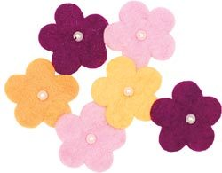 Wool Felt Flower -- Pearl Flowers