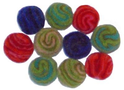 10 Large Spiral Felt Beads - 2.5cm