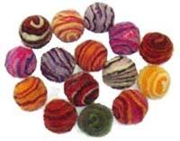 15 Small Spiral Felt Beads - 1.8cm