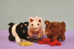 Needle Felted three Little Pigs kit