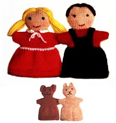 Knitted Dick and Jane Puppets Kit or Pattern