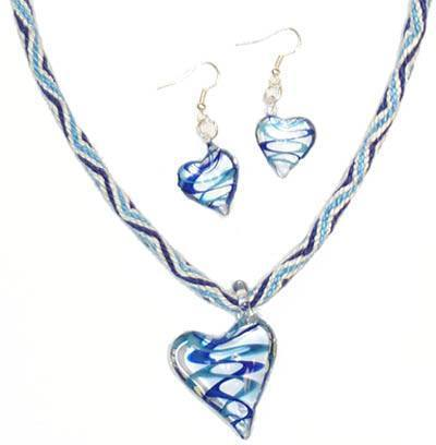 Blue Ribbon Heart Necklace and Earrings Kit