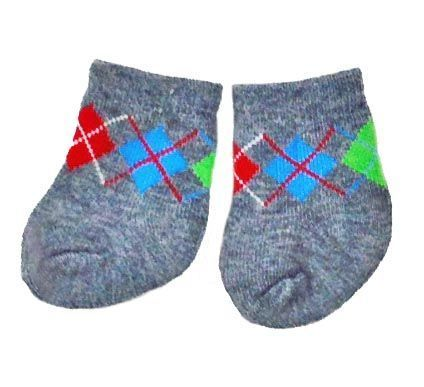 Doll Socks: Gray Argyle Anklets