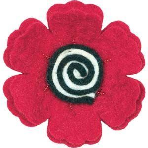 Wool Felt Flower -- Poppy