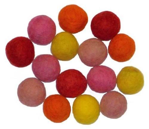 15 Warm Color Felt Bead Asst - 1.5cm
