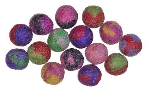 15 Two-Tone Felt Beads - 2cm