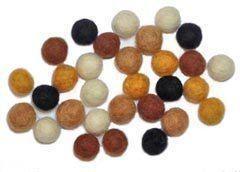30 Neutral Color Felt Bead Asst - 1cm