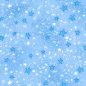 Brushed Cotton Flannel Fabric -- Blue Stars