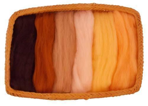 NZ Corriedale Wool Roving -- 6 Neutral/skin Colors