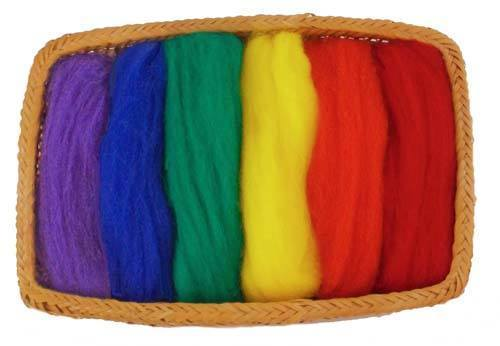 NZ Corriedale Wool Roving -- 6 Primary Colors