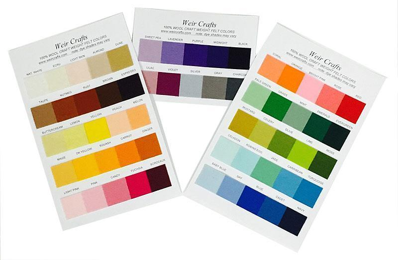 Craft Weight 100% Wool Felt Color Swatch Card