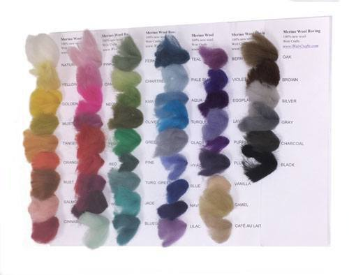 Fine Merino Wool Roving Swatch Cards