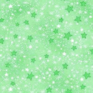 Brushed Cotton Flannel Fabric -- Green Stars
