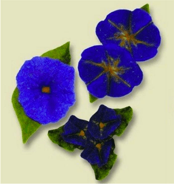 Wet Felted Flower Kit -- Blue