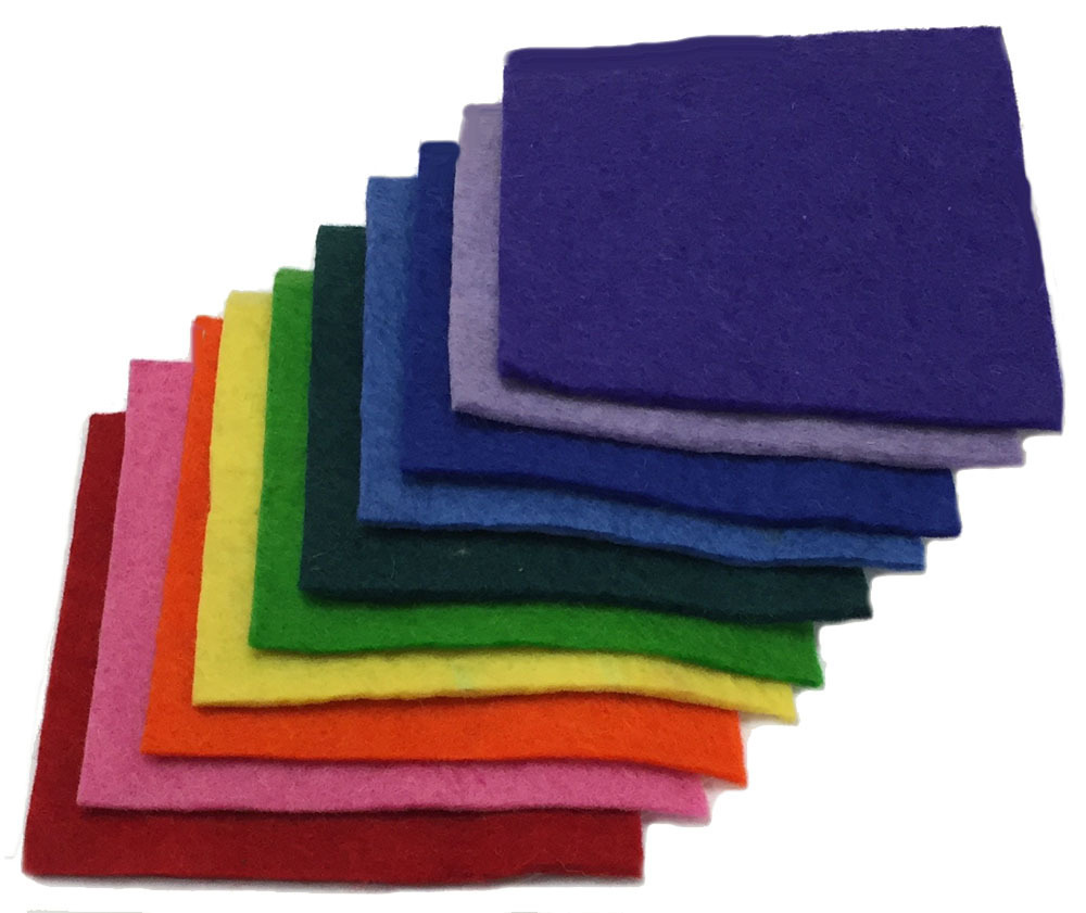 Handmade 100% Wool Felt -- 10 Bright colors