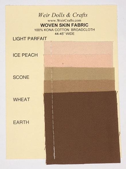 Woven Kona Cotton Doll Skin Fabric Swatch Card
