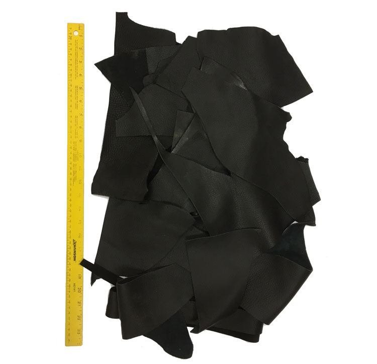Black Full Grain Leather scraps - 2 pounds