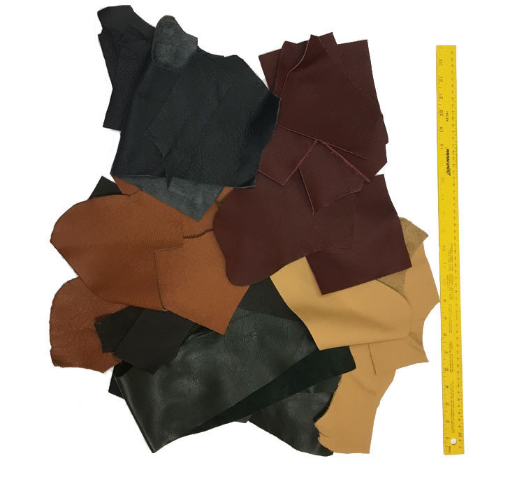 Mixed colors Full Grain Leather scraps - 2 pounds