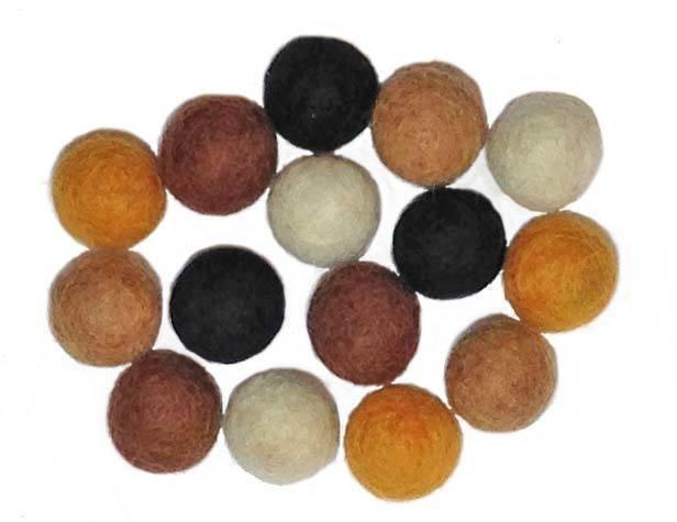 15 Neutral Color Felt Bead Asst - 1.5cm