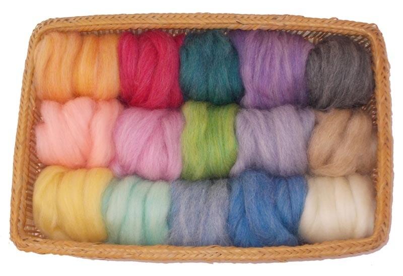 EcoSoft Wool Roving -- 15 Soft Colors