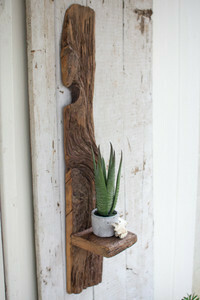 Recycled wood tall wall shelf