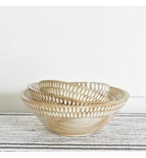 Carved wood salad bowls