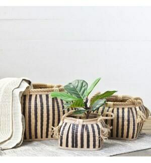 Striped plant baskets