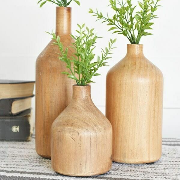 Wooden vase bottles