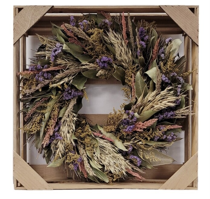 Spring dried floral wreath