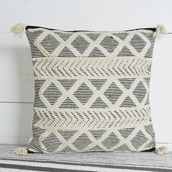 Black & Ivory fringe pillow
