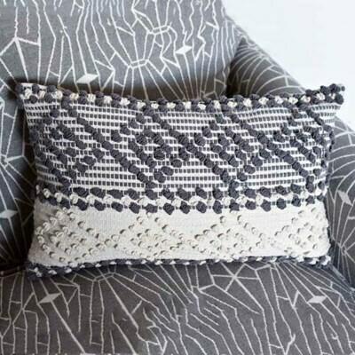Black and cream diamond pillow