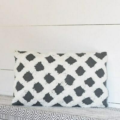 Gray/white criss cross pillow